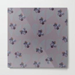 Oxalis & Fern Pattern Metal Print