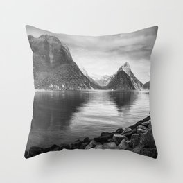 Milford Sound Panorama in black and white Throw Pillow