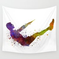 workout Wall Tapestries featuring Man exercising workout fitness  by Paulrommer