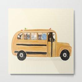 little yellow bus Metal Print