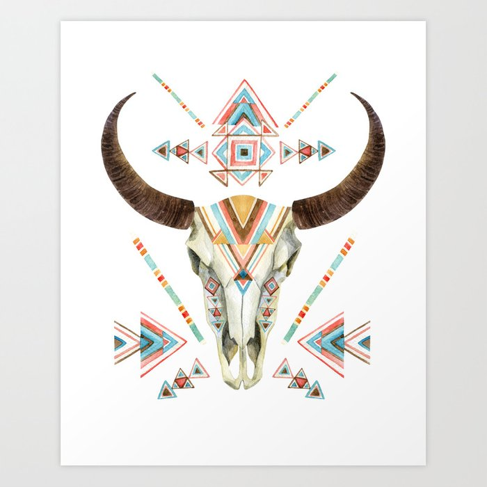 bull skull art print by southpacificprints society6