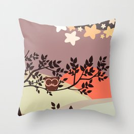 Quiet and peaceful night, cute owl snooze on the tree Throw Pillow