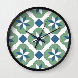 Islamic star flower tiles blue & green pattern Wall Clock