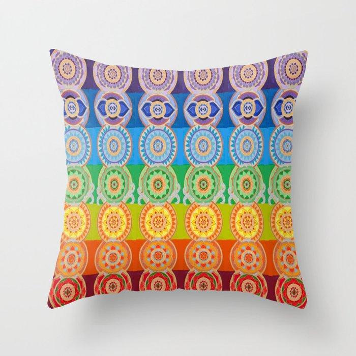 SEVEN CHAKRA SYMBOLS OF HEALING ART Throw Pillow