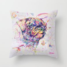 Pug Dog // Pugression Throw Pillow