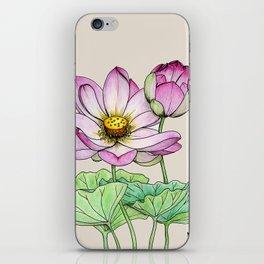 Botanical illustration lotus iPhone Skin