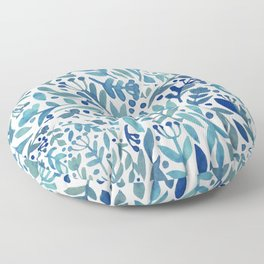 Watercolor blue plants Floor Pillow