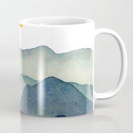 Mountain Range Silhouette – Blue & Yellow Coffee Mug