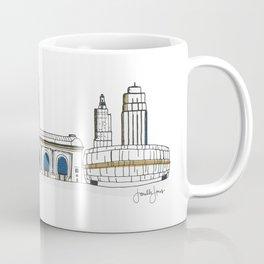 Kansas City Skyline Illustration in KC Royals Colors Coffee Mug