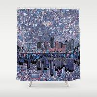 texas Shower Curtains featuring austin texas city skyline by Bekim ART