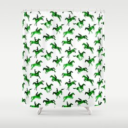 Watercolor Showjumping Horses (Green) Shower Curtain