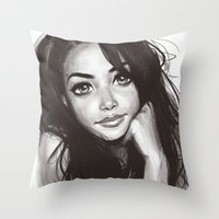 aaliyah Throw Pillows featuring 98 by duchess365