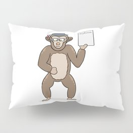 clever monkey with diploma Pillow Sham
