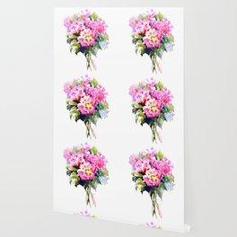 Hydrangea Pink Flowers, Floral pink decor Wallpaper