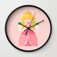 princess peach Wall Clocks featuring Peach by Khatii