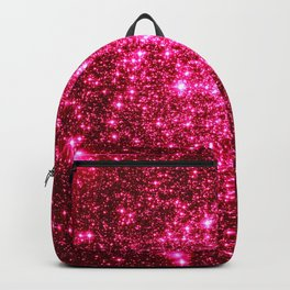 Hot Pink Glitter Galaxy Stars Backpack