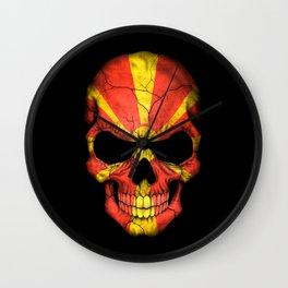 Dark Skull with Flag of Macedonia Wall Clock