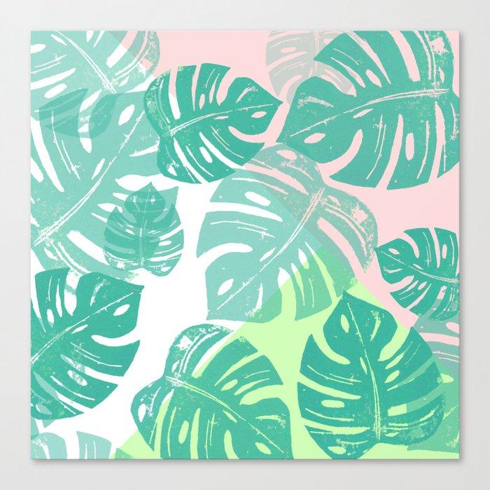 Linocut Monstera Tricolori Canvas Print