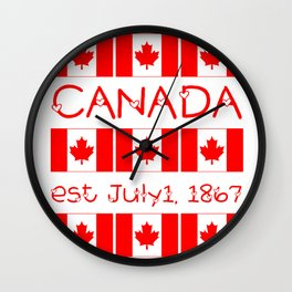Canada Day Maple Leaf Pattern Canadian Flag Wall Clock