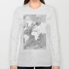 Design 49 Grayscale World Map Long Sleeve T-shirt
