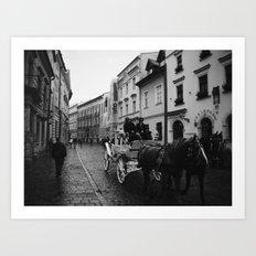 Carriage on Kanonicza Street, Krakow, Poland Art Print