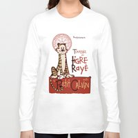 hobbes Long Sleeve T-shirts featuring Le Tigre Rayé by Arinesart