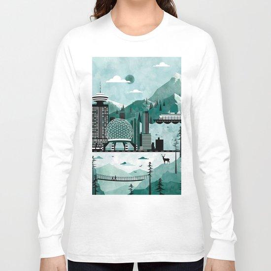 Vancouver Travel Poster Illustration Long Sleeve T-shirt
