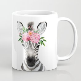 Baby Zebra with Flower Crown Coffee Mug