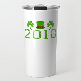 2018 Shamrocks And Leprechaun Hat St. Patrick's Day Travel Mug