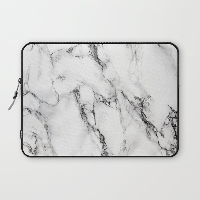 White Marble Texture Laptop Sleeve