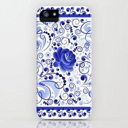 Floral ornament blue iPhone Case