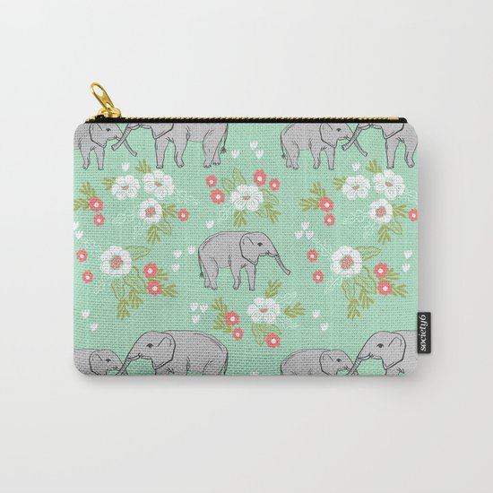 Elephants pattern mint blue with florals cute nursery baby animals lucky gifts Carry-All Pouch