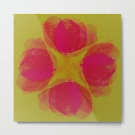green lemon and pink flowers pattern Metal Print