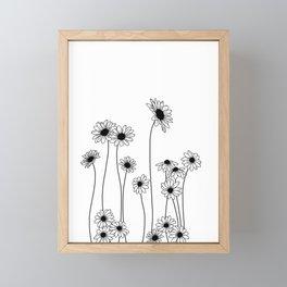 Minimal line drawing of daisy flowers Framed Mini Art Print