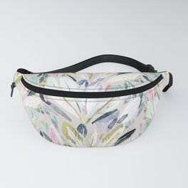 Pastel Shimmer Feather Leaves on Gray Fanny Pack