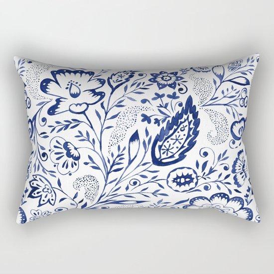 Folk Floral Indigo Rectangular Pillow