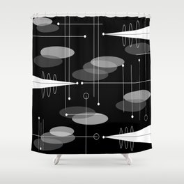 Atomic Space Age Black Shower Curtain