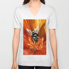 Bee on flower 1 Unisex V-Neck