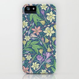 Yellow jonquil with purple crocuses and willow branches on dark background iPhone Case