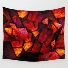 Fragments Of Fire - Abstract, geometric, fragmented pattern Wall Tapestry