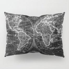 Black and White World Map (1795) Inverse Pillow Sham