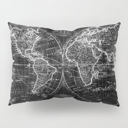 Black and White World Map (1795) Inverse Pillow Sham