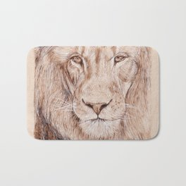 Lion Portrait - Drawing by Burning on Wood - Pyrography Art Bath Mat