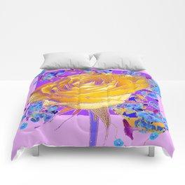 YELLOW ART ROSE FLOWERS  PURPLE-PINK DESIGN Comforters
