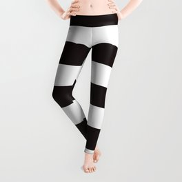 Licorice - solid color - white stripes pattern Leggings