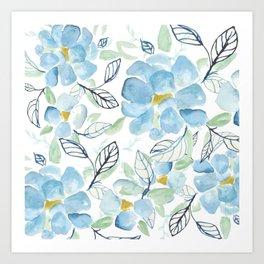 Blue flower garden watercolor Art Print