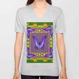 Decorative  Purple  Butterflies Green & Gold Pattern Art Unisex V-Neck