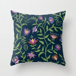 Folk Art Flowers Climbing Vines in Fall Colors Throw Pillow