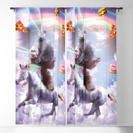 Laser Eyes Space Cat On Sloth Unicorn - Rainbow Blackout Curtain
