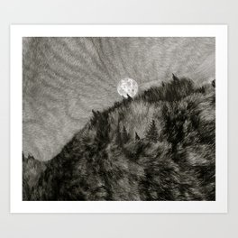 Catscape 2: Moonset Howling(black and white) Art Print